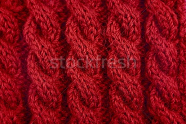 Detail of red cable knitting stitch Stock photo © sarahdoow