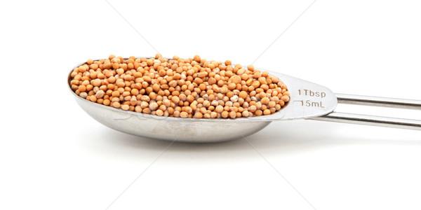 Mustard seeds measured in a metal tablespoon Stock photo © sarahdoow