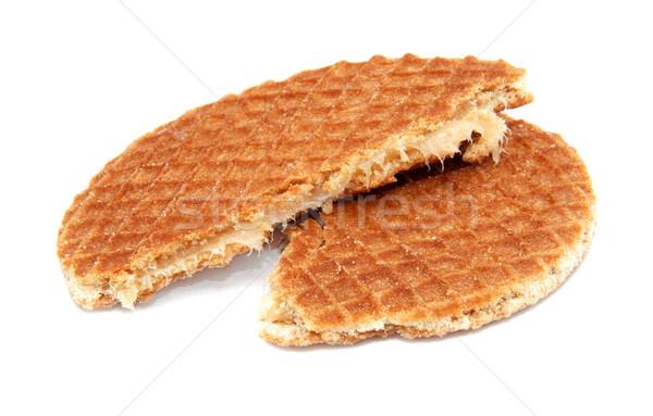 Nederlands karamel wafel gebroken half geïsoleerd Stockfoto © sarahdoow