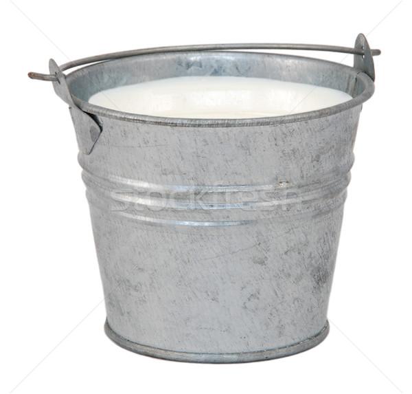 Zdjęcia stock: Mleka · miniatura · metal · wiadro · odizolowany · biały