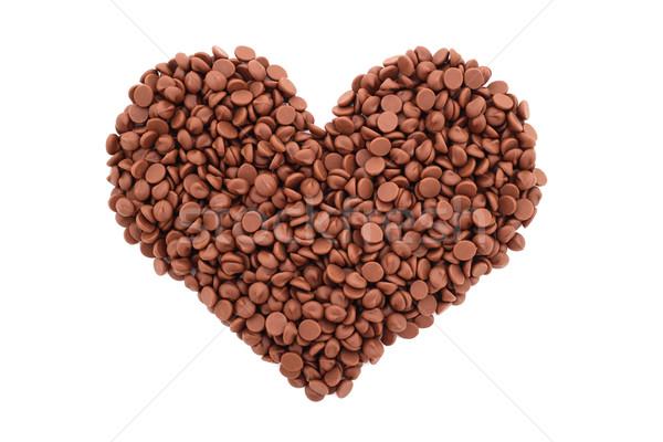 Milk chocolate chips in a heart shape Stock photo © sarahdoow