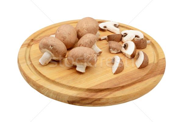 Stock fotó: Egész · szeletel · gesztenye · gombák · fából · készült · vágódeszka