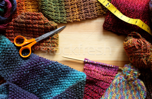 Border of knitting, wool, craft scissors and tape measure Stock photo © sarahdoow
