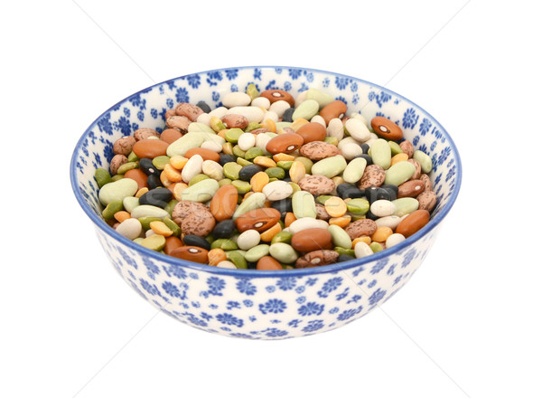Mixed dried beans in a blue and white china bowl Stock photo © sarahdoow