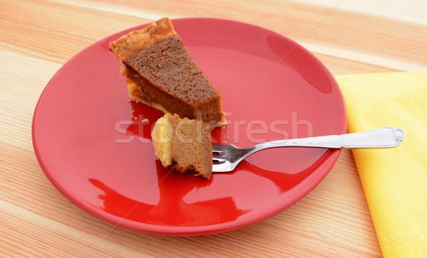 Bijten pompoen taart vork heerlijk zilver Stockfoto © sarahdoow