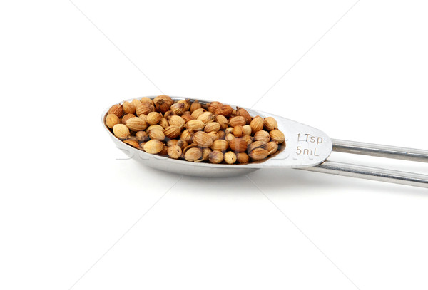 Whole coriander or cilantro seeds measured in a metal teaspoon Stock photo © sarahdoow
