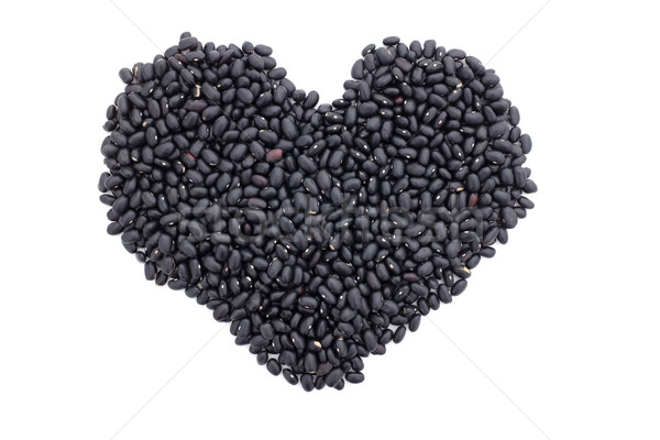 Black turtle beans in a heart shape Stock photo © sarahdoow
