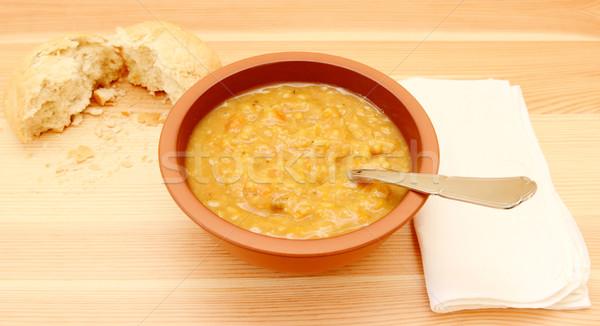 Photo stock: Soupe · table · déchirée · pain · rouler · blanche