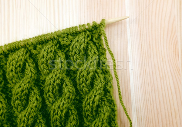 Green cable knitting stitch on the needle Stock photo © sarahdoow
