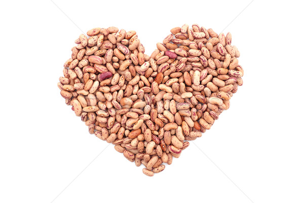 Stock photo: Cranberry beans, or borlotti beans in a heart shape