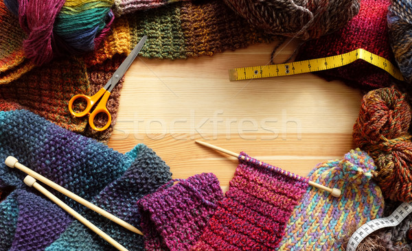 Border of colourful knitting and craft accessories Stock photo © sarahdoow