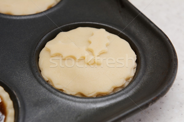 Closeup of mince pie ready for the oven Stock photo © sarahdoow