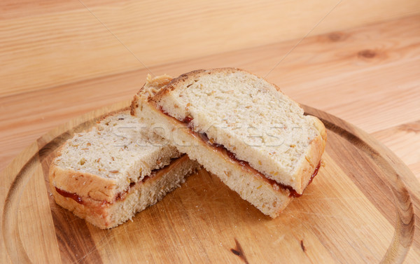 Two homemade peanut butter and jam sandwiches  Stock photo © sarahdoow
