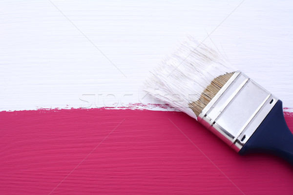 Painting pink surface with white paint Stock photo © sarahdoow