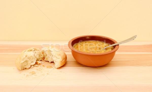Stockfoto: Kom · heerlijk · groentesoep · brood · rollen · gescheurd