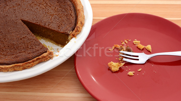 Plate with crumbs next to a sliced pumpkin pie Stock photo © sarahdoow