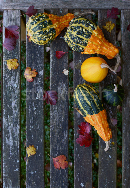 Ornamental gourds with fall leaves on a rustic bench Stock photo © sarahdoow