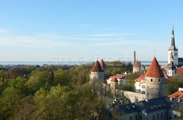 Medieval wall and towers around Old Town of Tallinn, Estonia Stock photo © sarahdoow