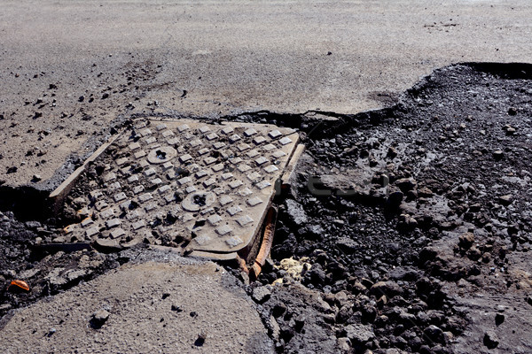Damaged manhole cover on a road with broken tarmac Stock photo © sarahdoow