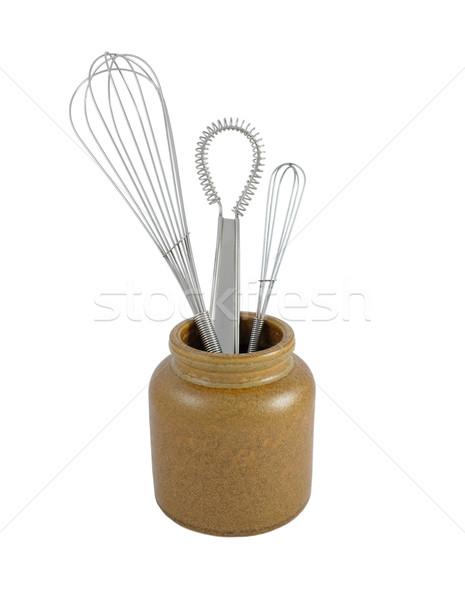 Drie metaal bruin keramische jar geïsoleerd Stockfoto © sarahdoow
