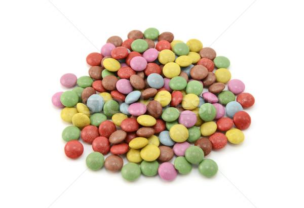 Foto stock: Colorido · chocolate · feijões · isolado · branco · azul