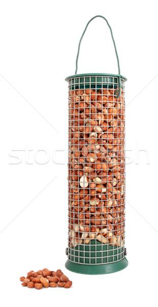 Photo stock: Oiseau · cacahuètes · noix · détacher · isolé · blanche