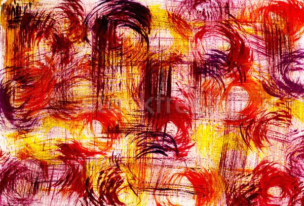 Foto stock: Resumen · circular · pincel · mezcla · rojo · amarillo