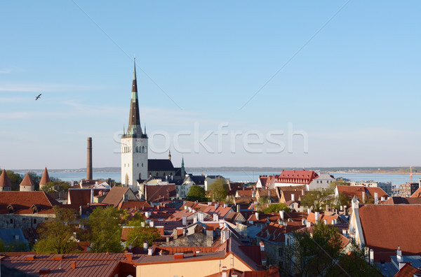 St Olaf's Church tower above Tallinn Old Town, Estonia Stock photo © sarahdoow