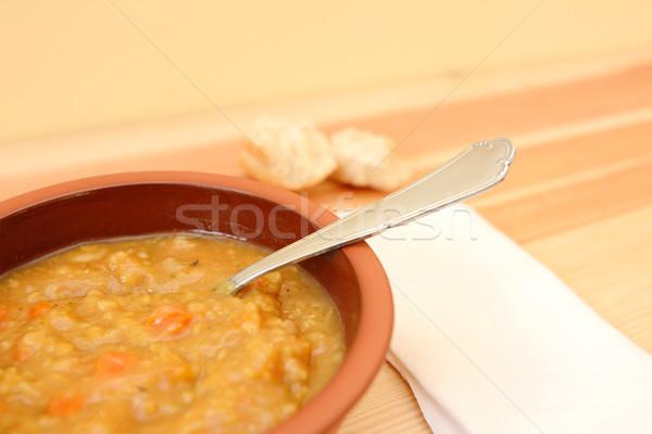 Sopa de legumes peças pão rolar comida Foto stock © sarahdoow