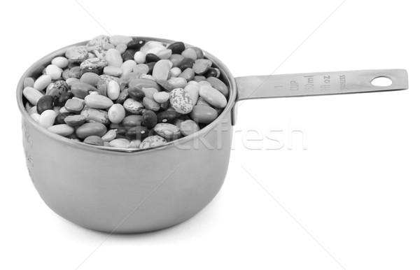 Foto stock: Misto · secas · feijões · metal · copo · medir