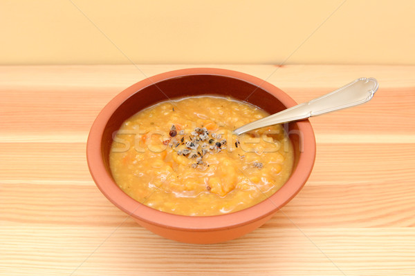 Bowl of seasoned lentil and vegetable soup Stock photo © sarahdoow