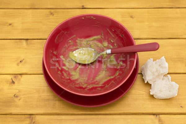 Pièces pain bol soupe pain blanc table Photo stock © sarahdoow