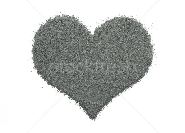 Instant kávé szív alak izolált fehér monokróm szív Stock fotó © sarahdoow