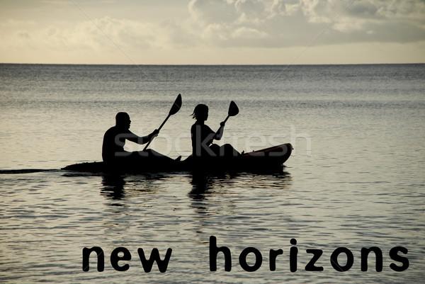 Stok fotoğraf: Okyanus · yeni · metin · adam · kadın · deniz