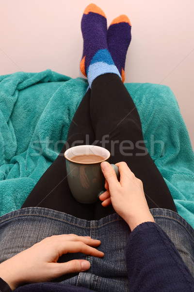 Foto stock: Mulher · relaxante · bebida · quente · quente · café