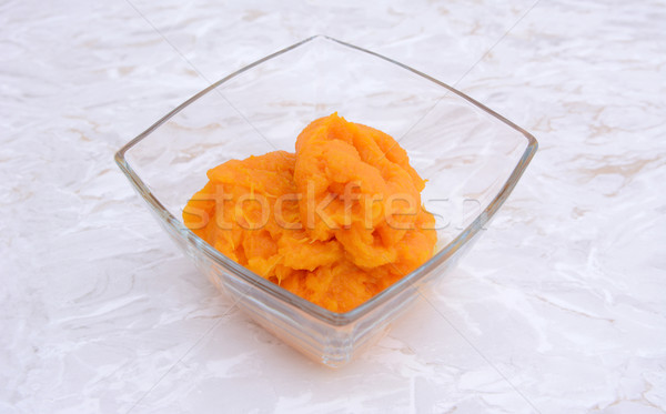 Pumpkin puree in a glass bowl Stock photo © sarahdoow