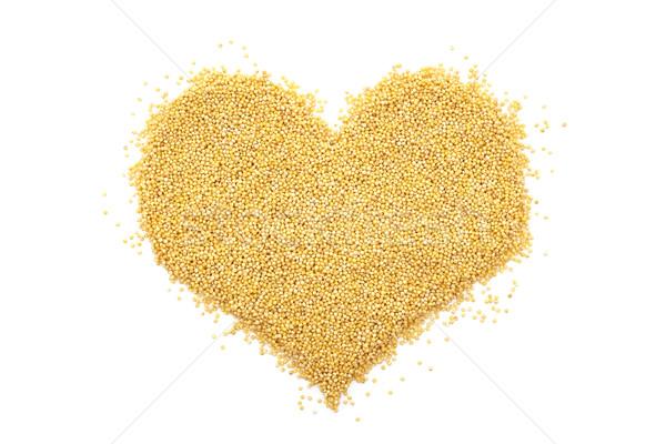 Tahıl kalp şekli yalıtılmış beyaz gıda sağlıklı Stok fotoğraf © sarahdoow