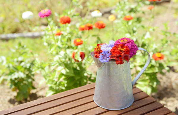 Metal pitcher full of brightly coloured flowers Stock photo © sarahdoow