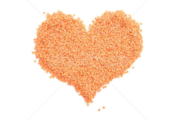 Stock photo: Red lentils in a heart shape