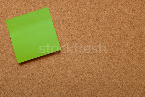 Blank green note paper stuck on cork board Stock photo © sarahdoow
