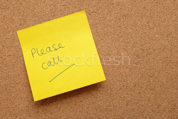 Yellow sticky note - Please Call - on cork board Stock photo © sarahdoow