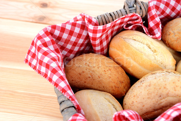 Stock photo: Fresh bread rolls in a rustic picnic basket