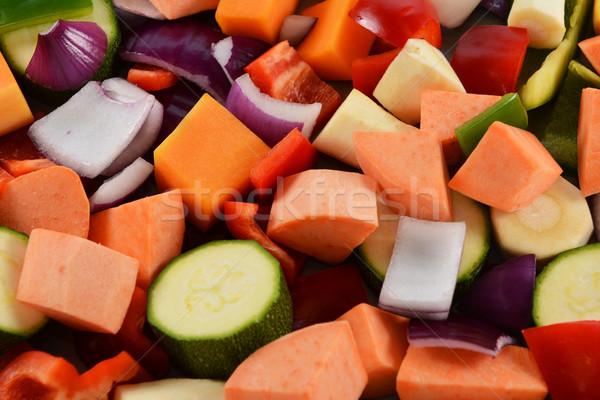 Picado legumes abstrato batata doce abobrinha Foto stock © sarahdoow