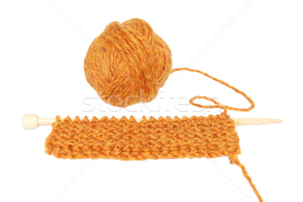 Knitting in garter stitch on one needle with a ball of wool Stock photo © sarahdoow