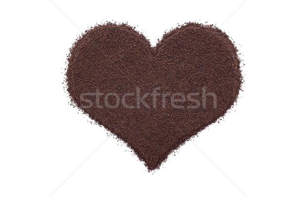 Sciolto foglia tè a forma di cuore isolato bianco Foto d'archivio © sarahdoow