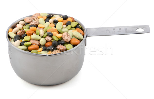 Mixed dried beans in a metal cup measure Stock photo © sarahdoow