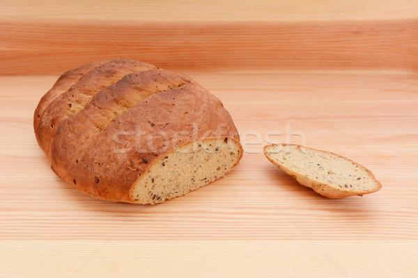 свежие хлеб буханка Cut семени Сток-фото © sarahdoow