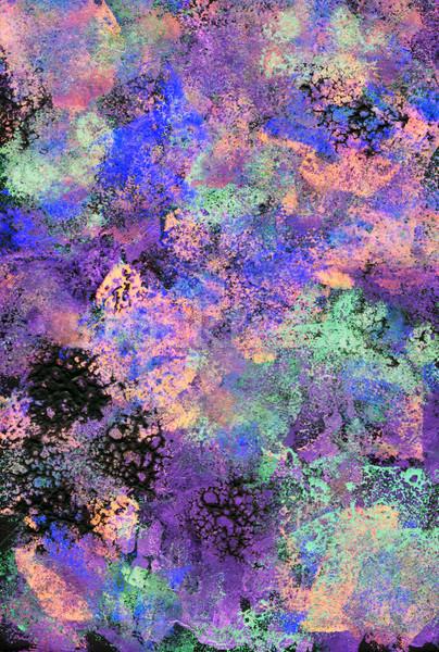 Black, purple and green textured daubs of acrylic paint Stock photo © sarahdoow