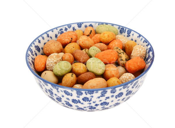 Seaweed peanuts in a blue and white china bowl Stock photo © sarahdoow