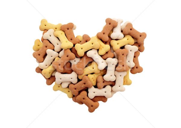 Karışık kurutulmuş köpek bisküvi kalp şekli yalıtılmış Stok fotoğraf © sarahdoow